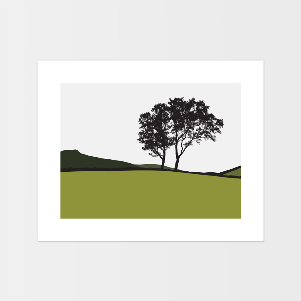 Landscape print of trees in Braemar, Scotland by designer Jacky Al-Samarraie.