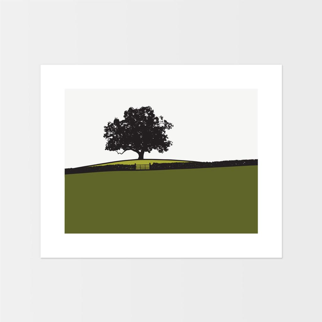Landscape print of tree at Dowley Gap in Bingley, West Yorkshire by designer Jacky Al-Samarraie.
