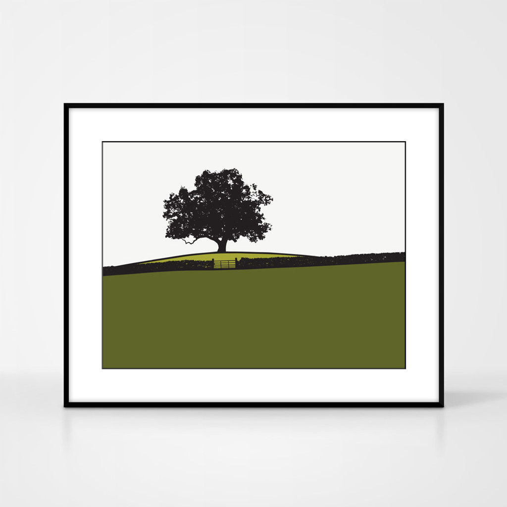 Landscape print of tree at Dowley Gap in Bingley, West Yorkshire by designer Jacky Al-Samarraie.  Shown in frame for reference.