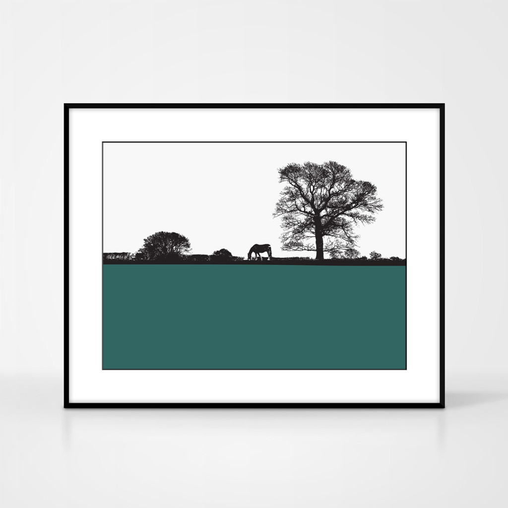 Landscape print of horse and tree in Masham, North Yorkshire by designer Jacky Al-Samarraie.  Shown in frame for reference.