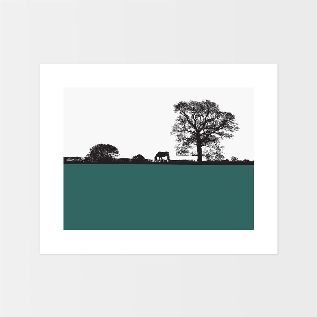 Landscape print of horse and tree in Masham, North Yorkshire by designer Jacky Al-Samarraie.