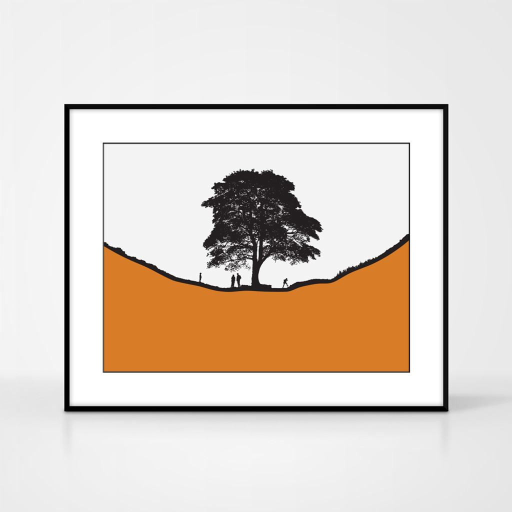 Landscape print of people at Sycamore Gap along Hadrian's Wall in Northumberland by designer Jacky Al-Samarraie.  Shown in frame for reference.