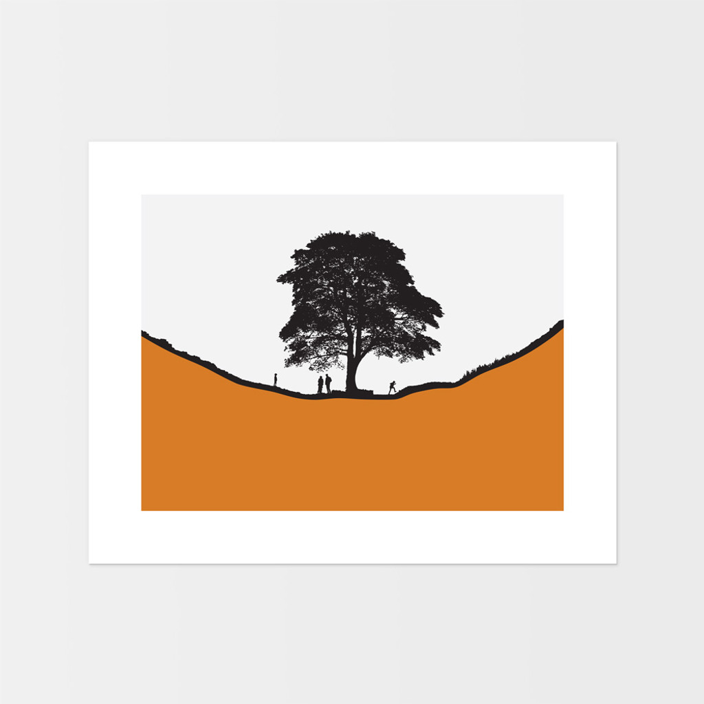 Landscape print of people at Sycamore Gap along Hadrian's Wall in Northumberland by designer Jacky Al-Samarraie.