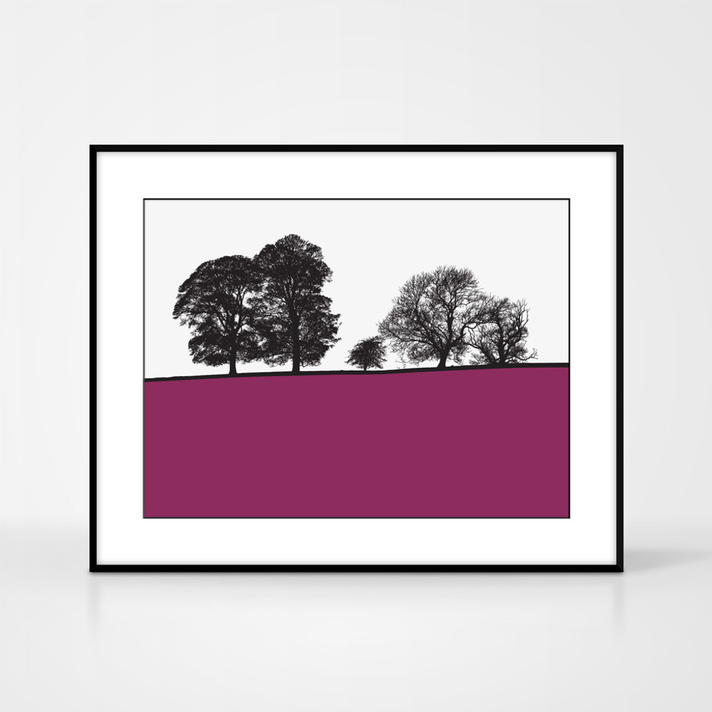 Landscape print of Windermere in the Lake District by designer Jacky Al-Samarraie.  Shown in frame for reference.