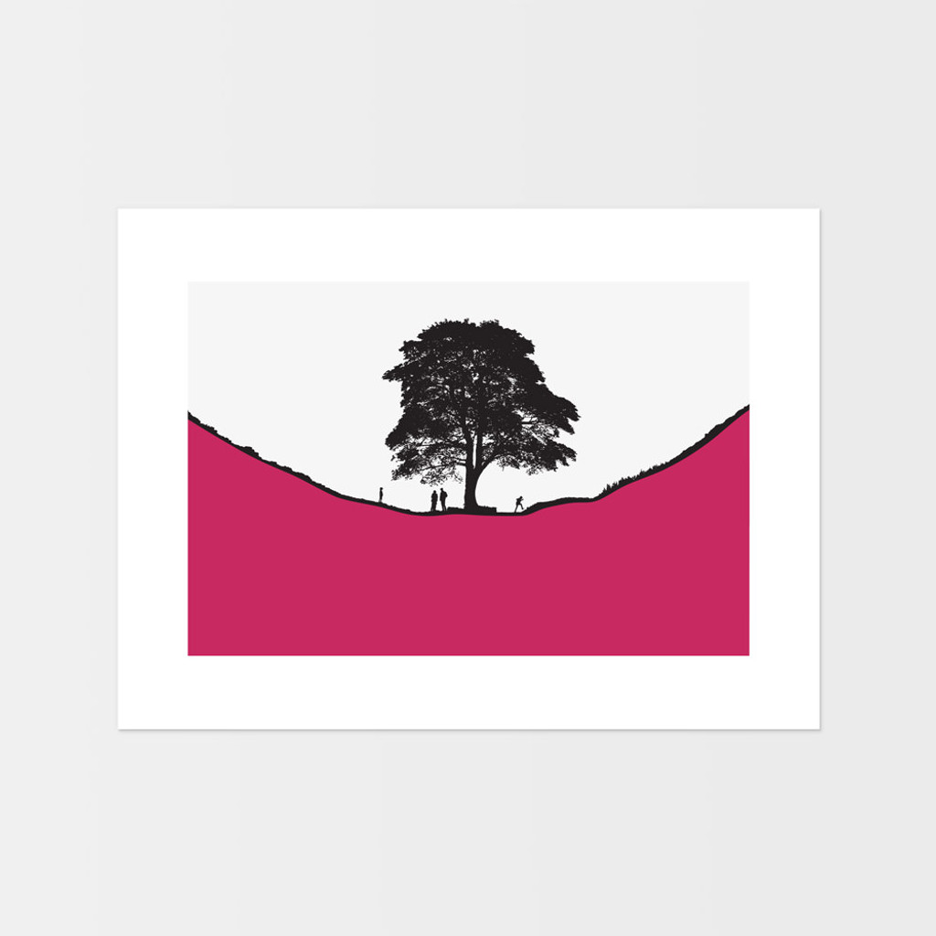 Jacky Al-Samarraie Landscape Print of Sycamore Gap, with a family of walkers, unframed.