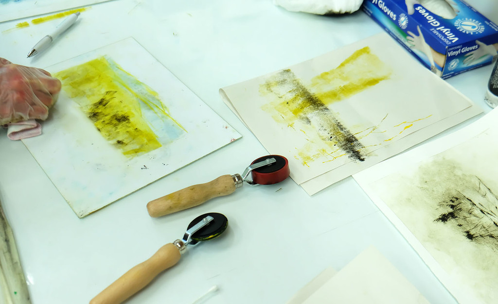 Combining mono-print with drypoint
