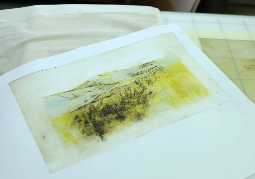 Finished mono-print and drypoint