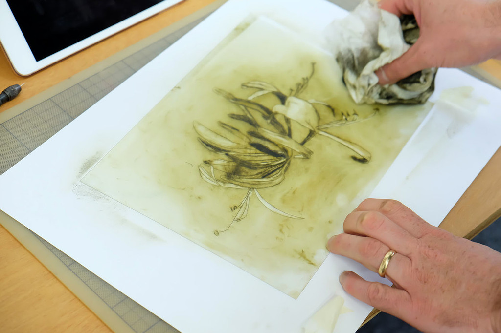 Removing ink from drypoint plate