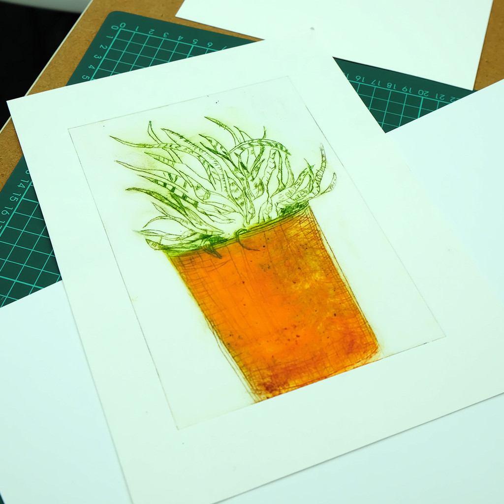 Drypoint plant drawing