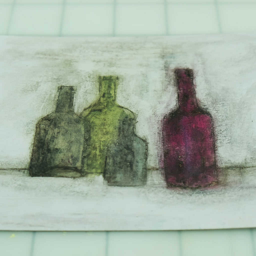 Bottles - Collagraph