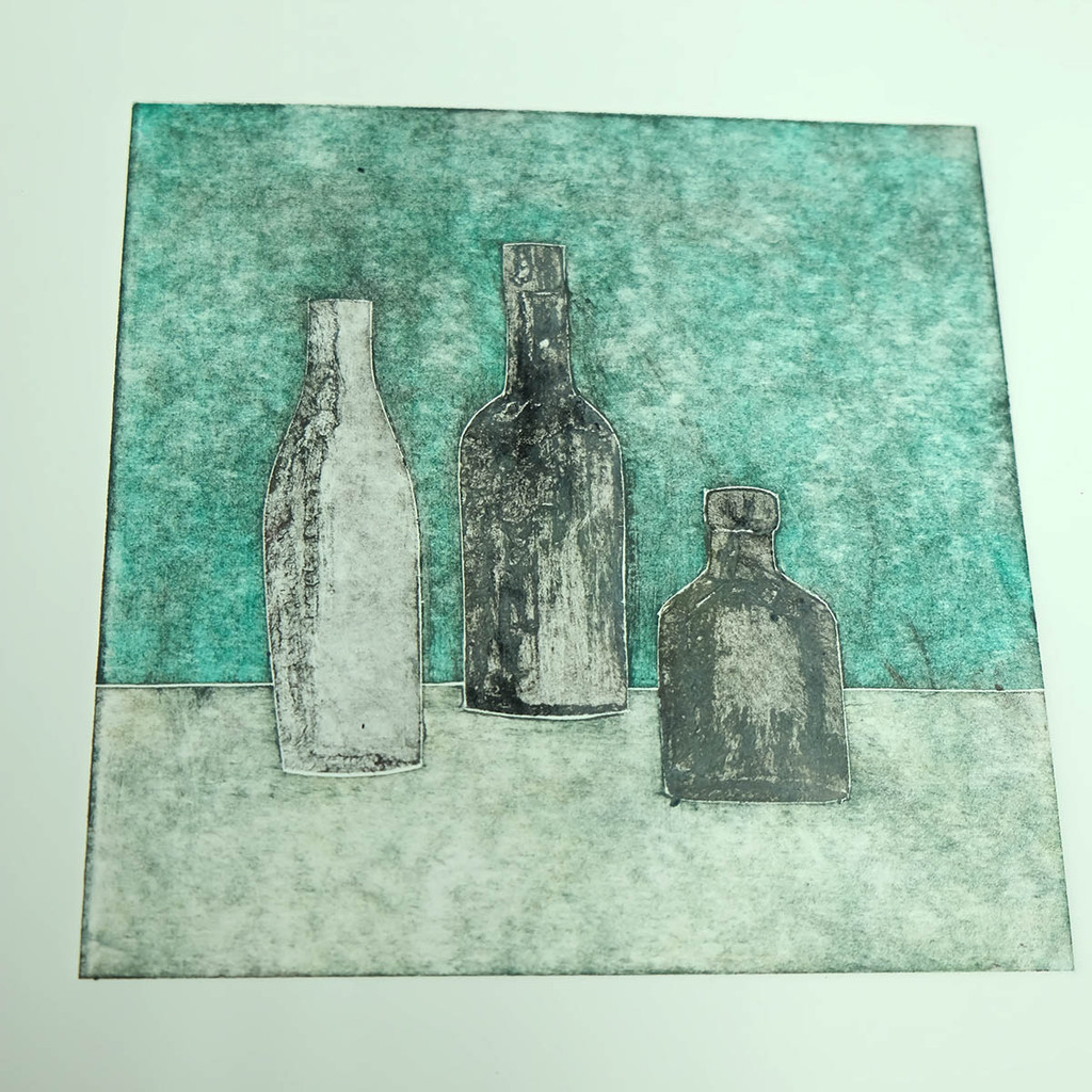 Collagraph print - bottles