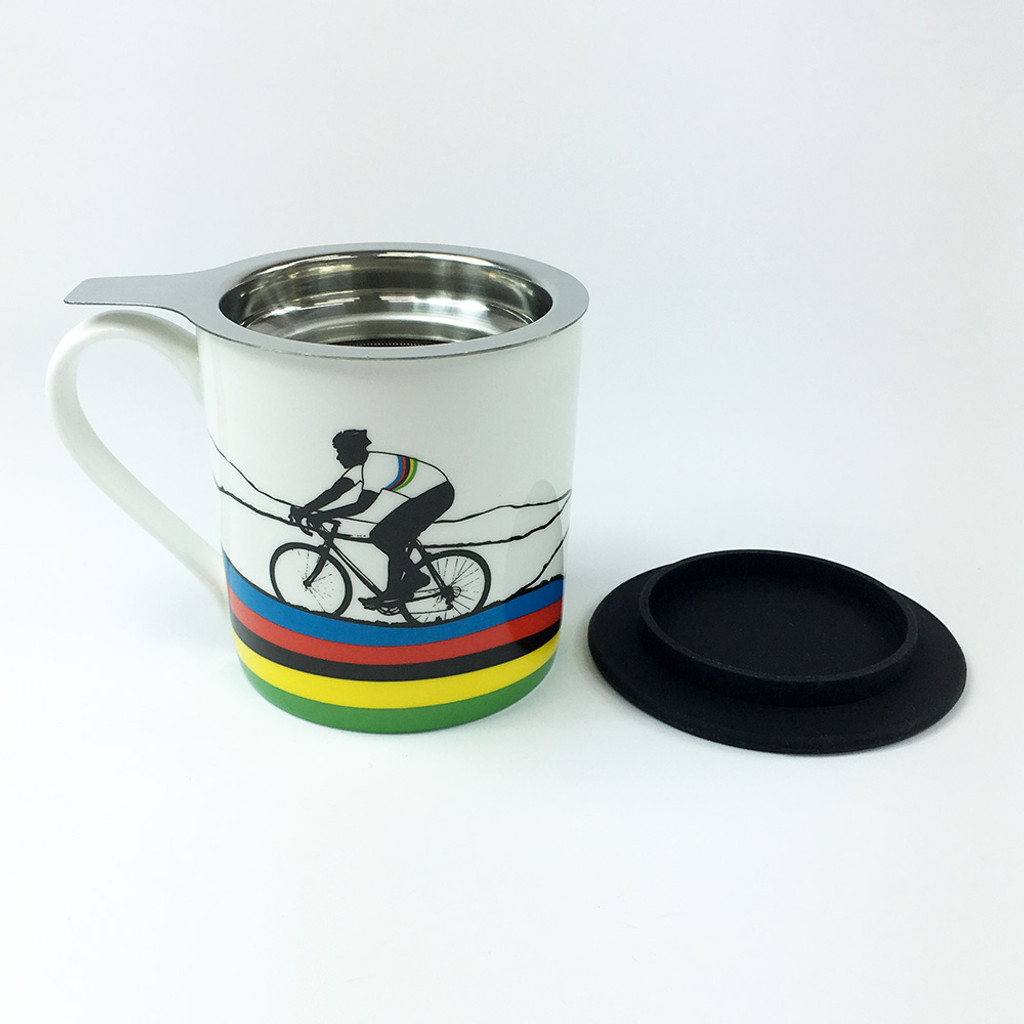 Rainbow jersey cycling mug with tea filter