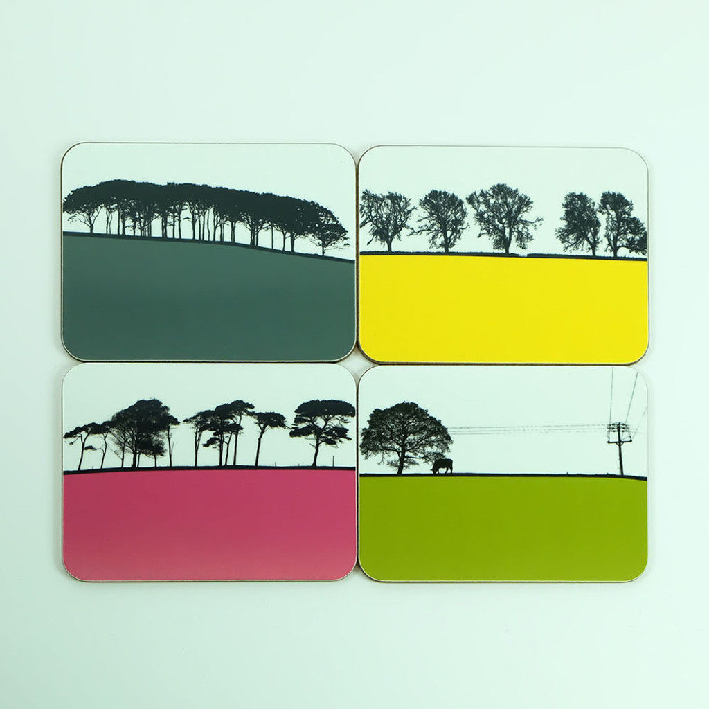 Set of 8 drinks coasters featuring British Landscapes by Jacky Al-Samarraie