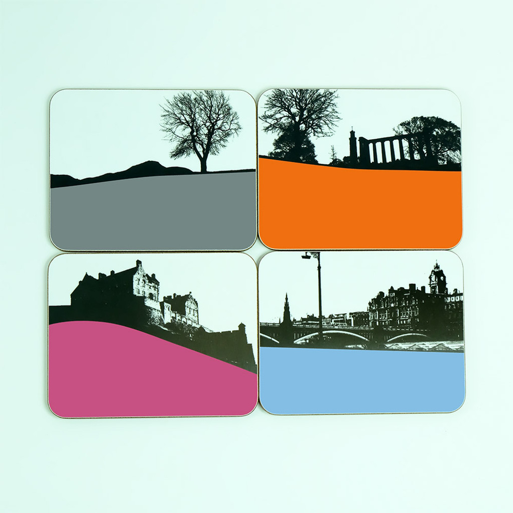 Set of Edinburgh Drinks Coasters by Jacky Al-Samarraie