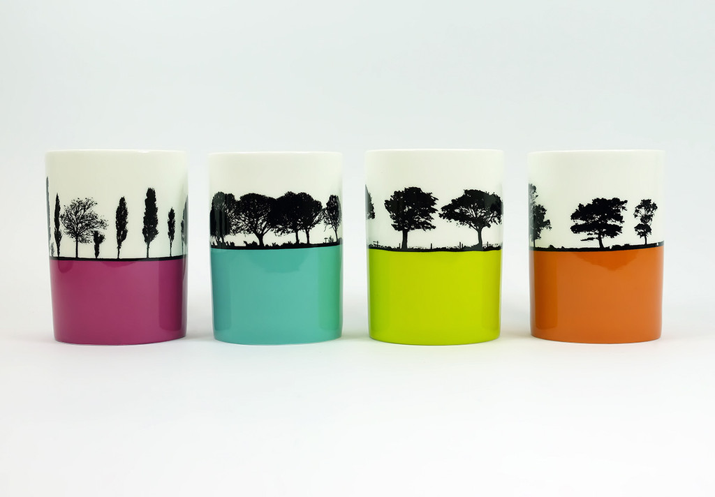 Set of 4 Landscape bone china mugs by Jacky Al-Samarraie