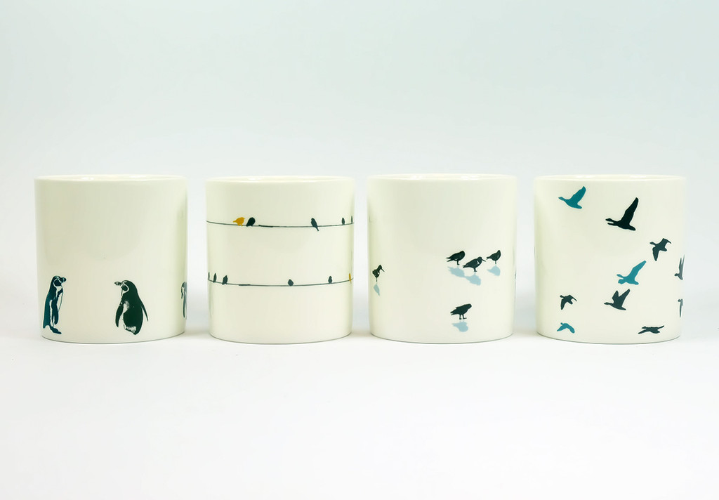 Set of four Bird bone china mugs by Jacky Al-Samarraie