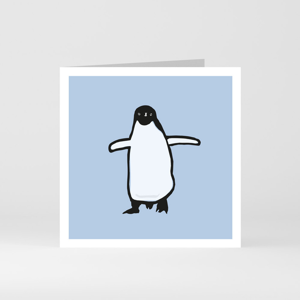 A modern graphic greeting card of a cute penguin by designer Jacky Al-Samarraie