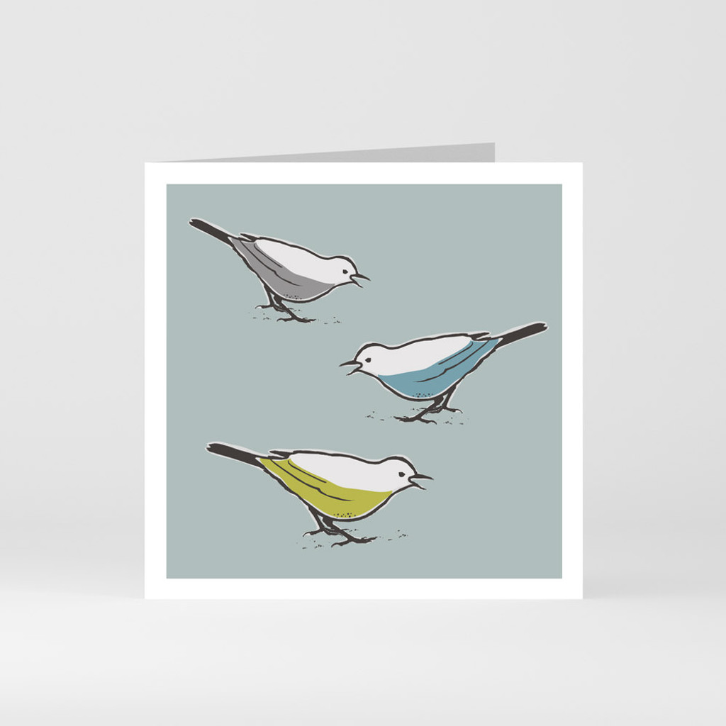 A modern graphic greeting card of three cute song thrush birds by designer Jacky Al-Samarraie