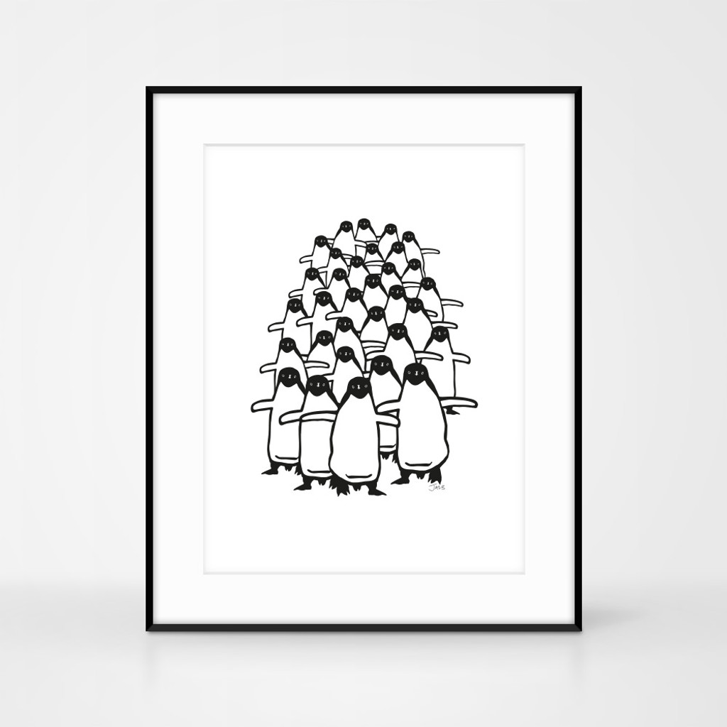 Framed Penguin Screenprint by Jacky Al-Samarraie