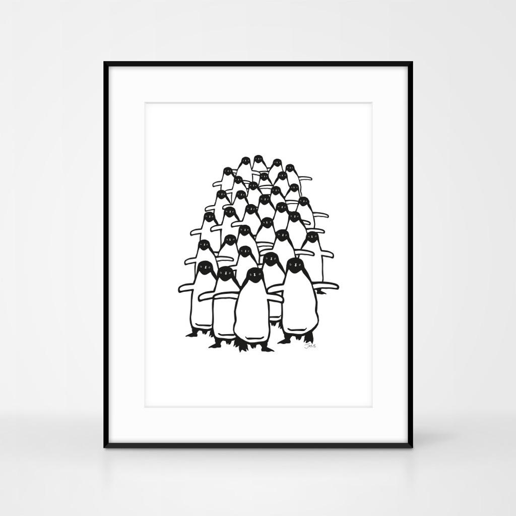Framed Penguin Screenprint by Jacky Al-Samarraie