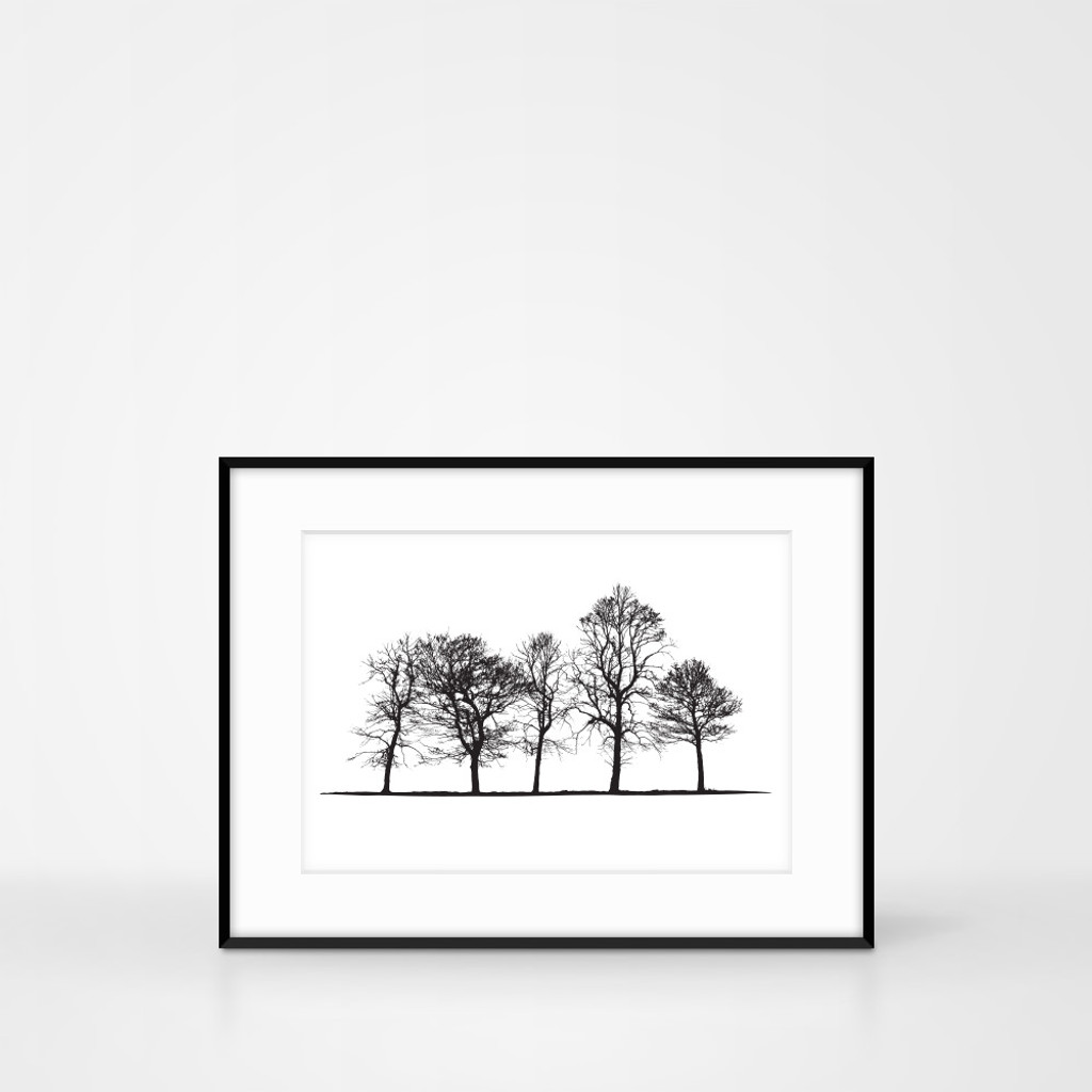 Tree landscape screen print in frame size 40 x 30cm by Jacky Al-Samarraie