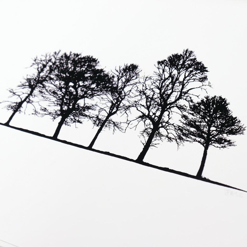 Close up of black tree Landscape screen-print by Jacky Al-Samarraie