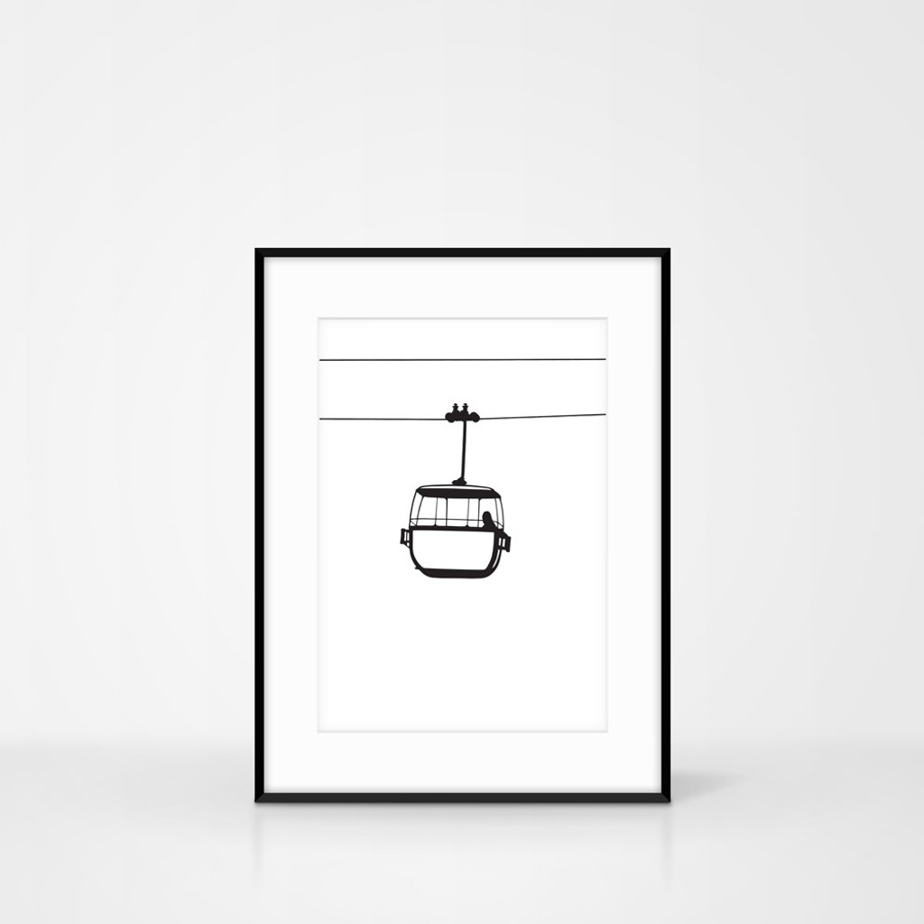 Monochrome Great Orme Cable Car Screen Print by Jacky Al-Samarraie