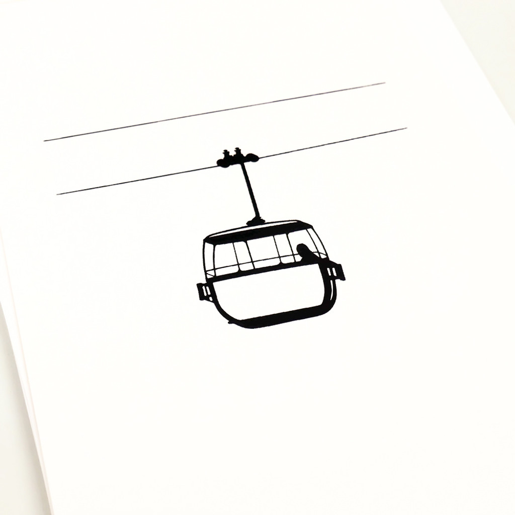 Black cable car screen print Llandudno by Jacky Al-Samarraie