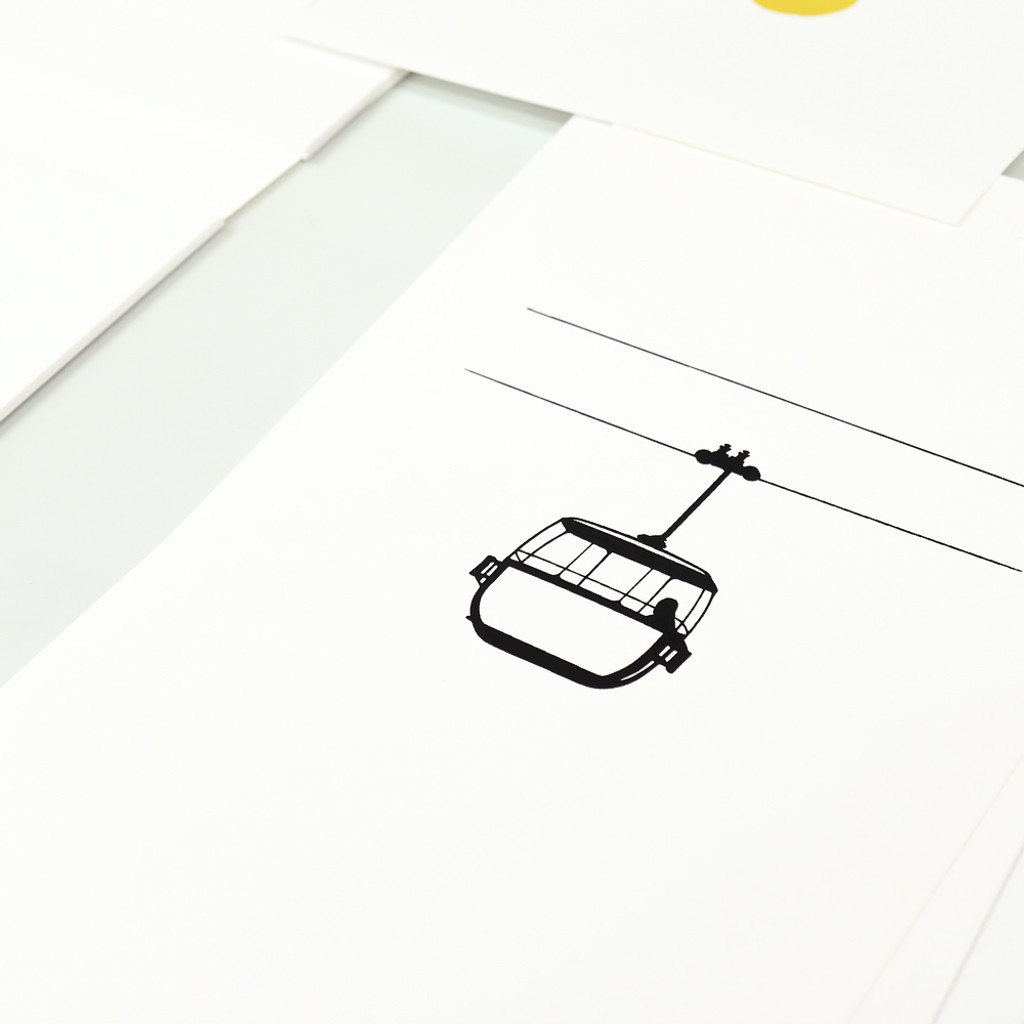 Screen-print of the Great Orme cable cars by Jacky Al-Samarraie