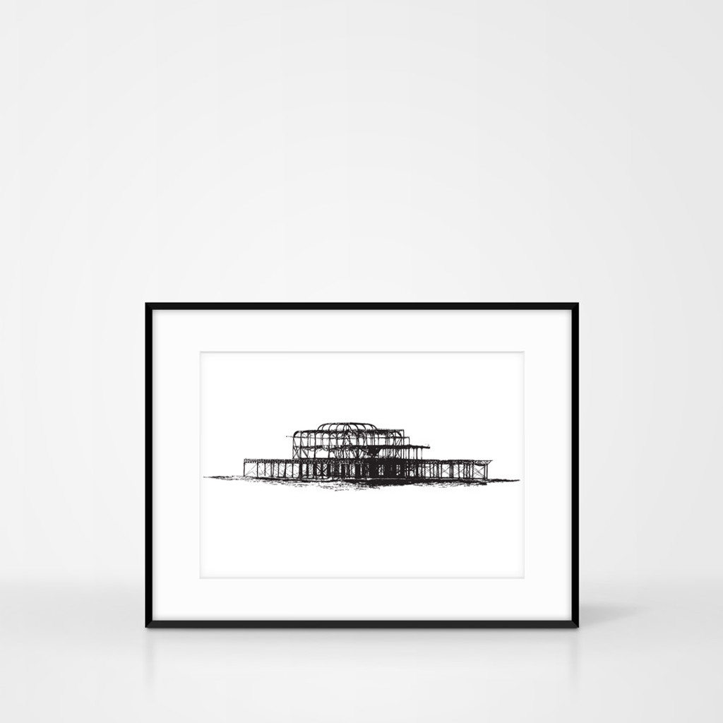 Screen Print of the West Pier Brighton by Jacky Al-Samarraie. Frame size 30 x 40cm.