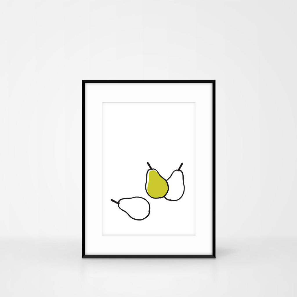 Framed Pear screen-print frame size 30 x 40cm by Jacky Al-Samarraie
