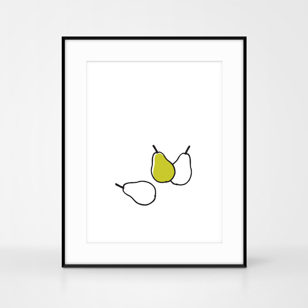 Pear Screen Print, frame size 40 x 50cm by Jacky Al-Samarraie