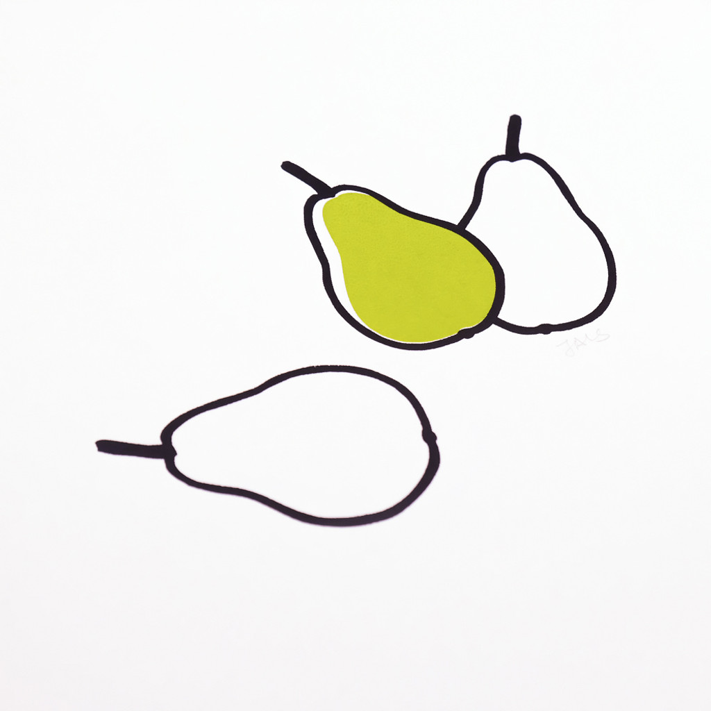 Close up of screen print of three pears by Jacky Al-Samarraie