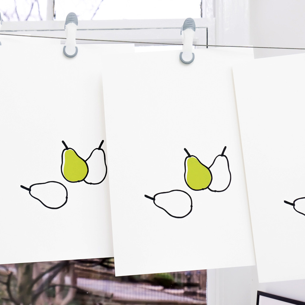 Pear screen-prints drying in studio by Jacky Al-Samarraie
