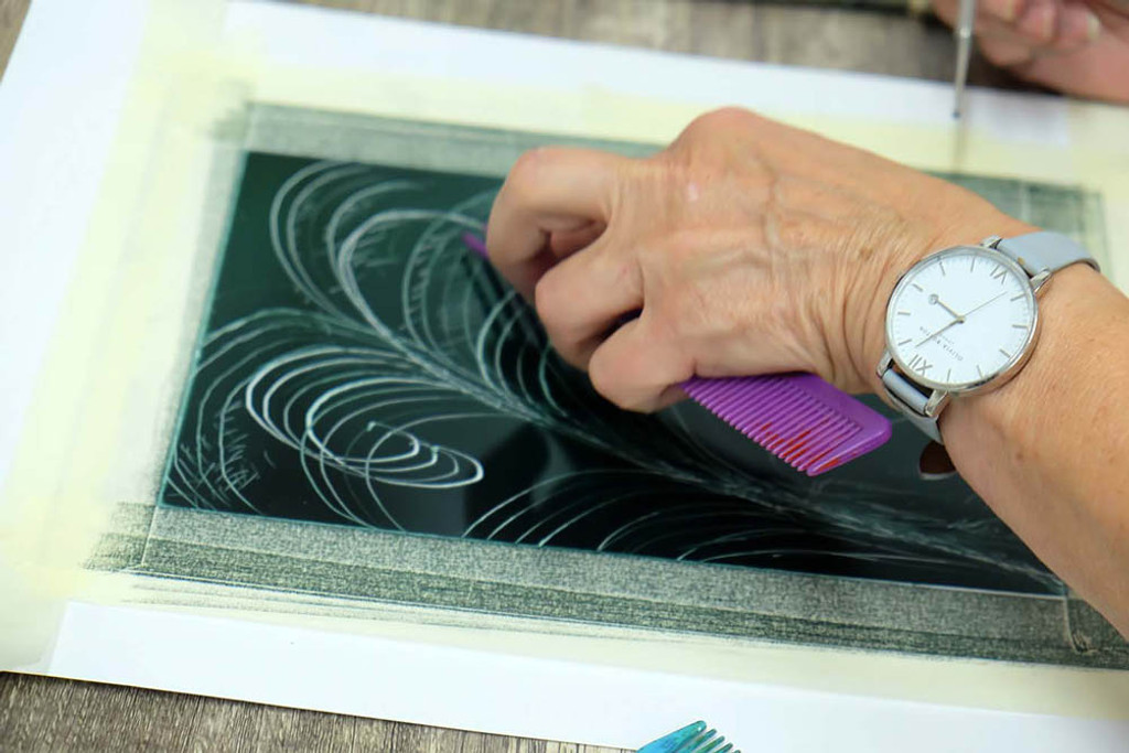 Hand drawn monotype print - The Art Rooms printmaking workshop