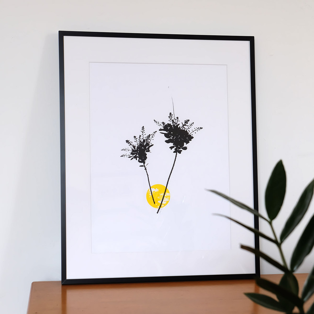 Framed yellow smoke tree flower screen print by Jacky Al-Samarraie