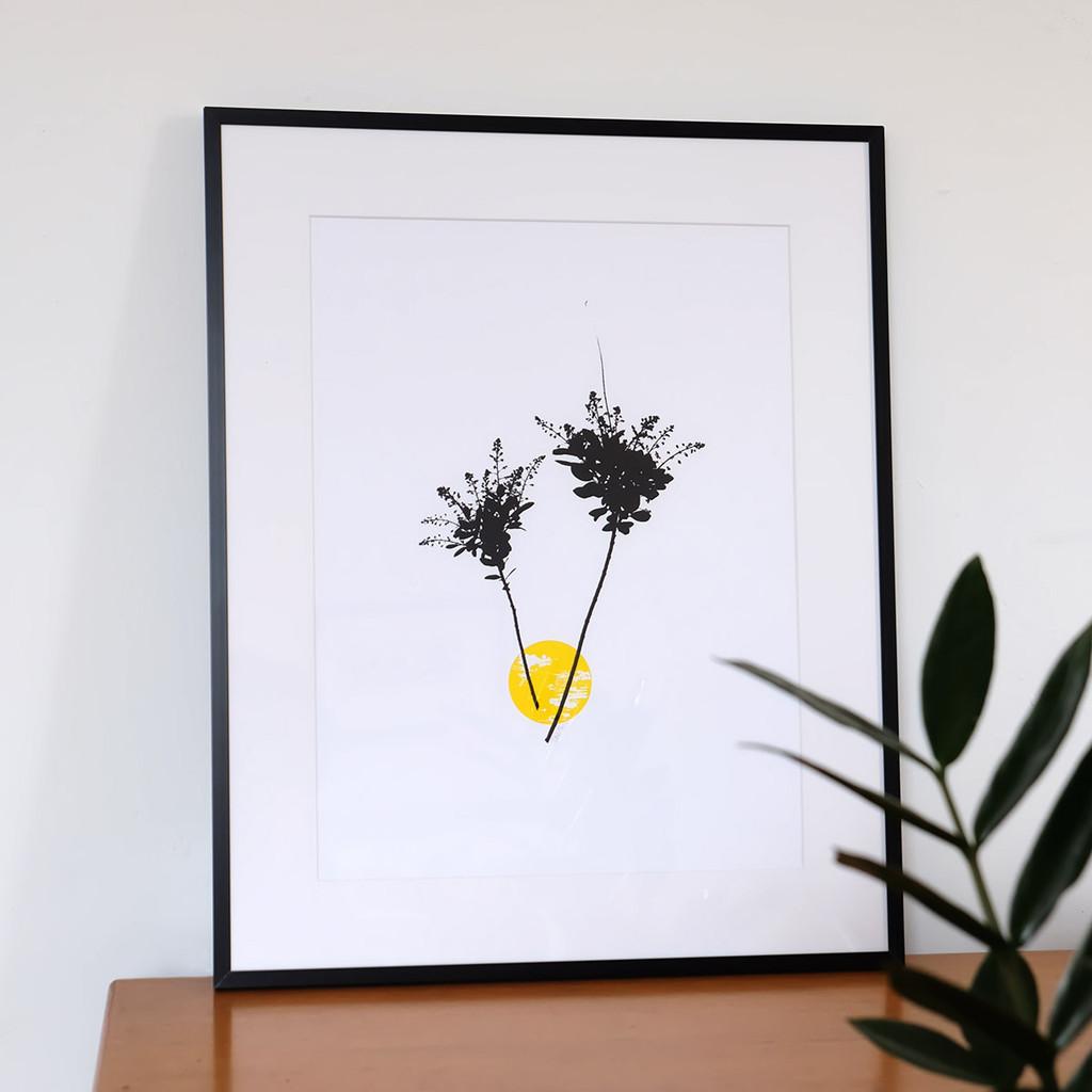 Framed yellow smoke tree flower screen print by Jacky Al-Samarraie