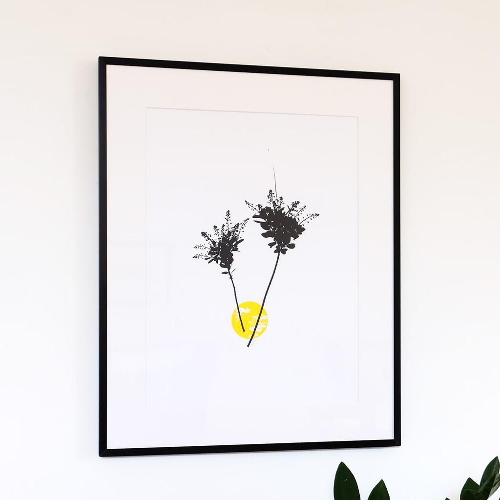 Floral silhouette screen print by Jacky Al-Samarraie