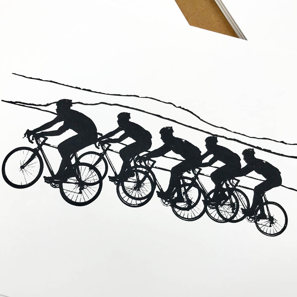 Cycling Screenprint close up by Jacky Al-Samarraie