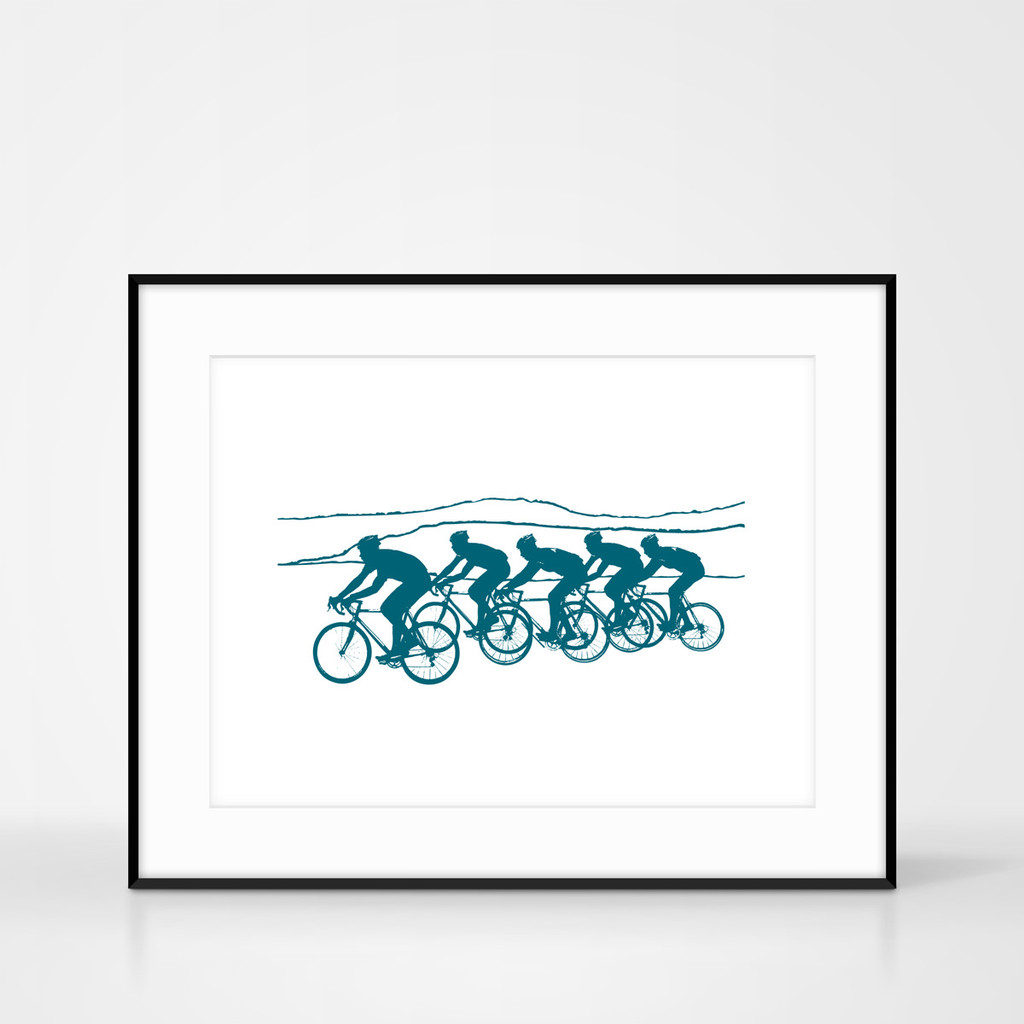 Framed cycling screenprint in teal colour by Jacky Al-Samarraie