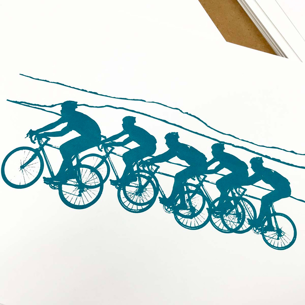 Unframed screen-print close up, cycling image by Jacky Al-Samarraie