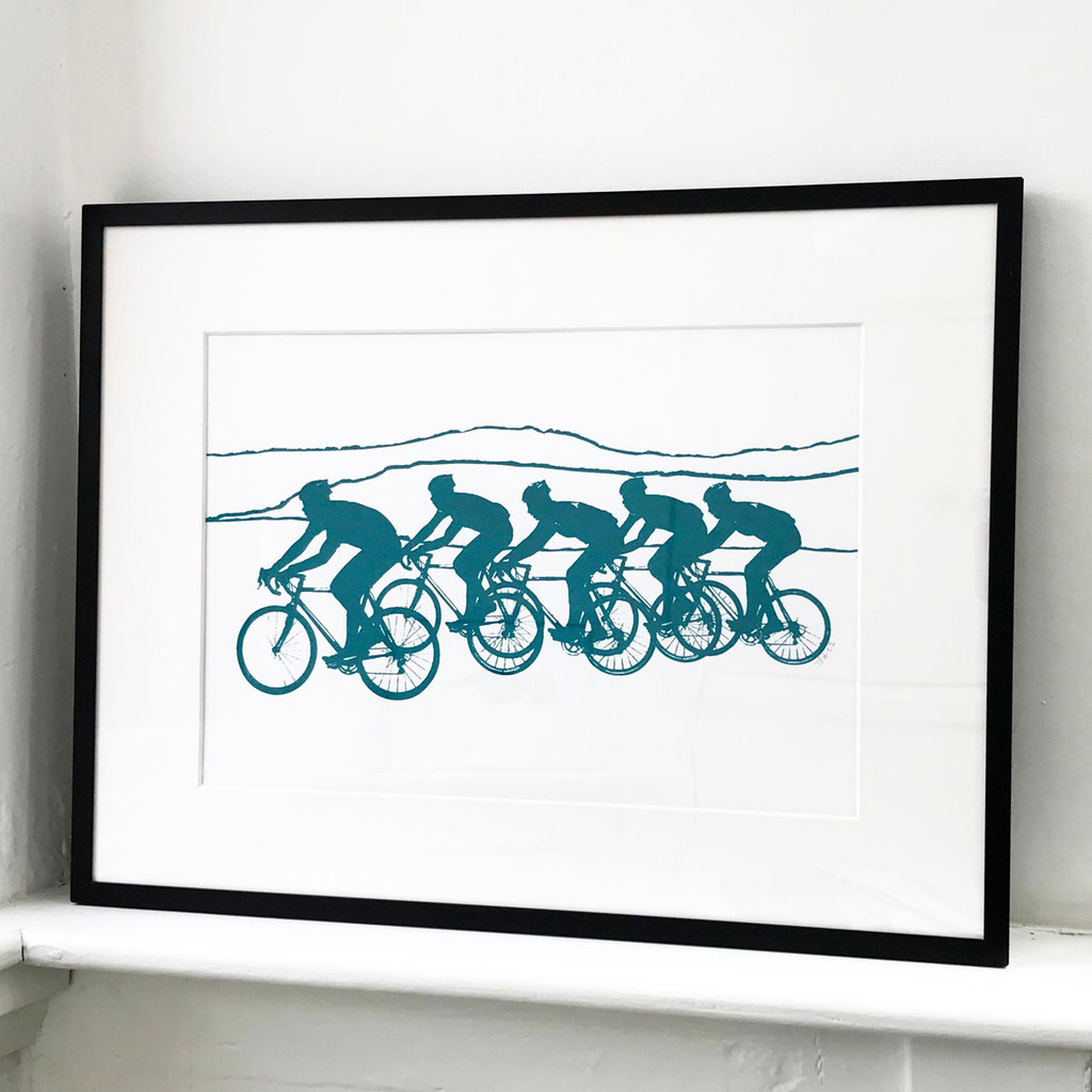 Framed cycling print by Jacky Al-Samarraie