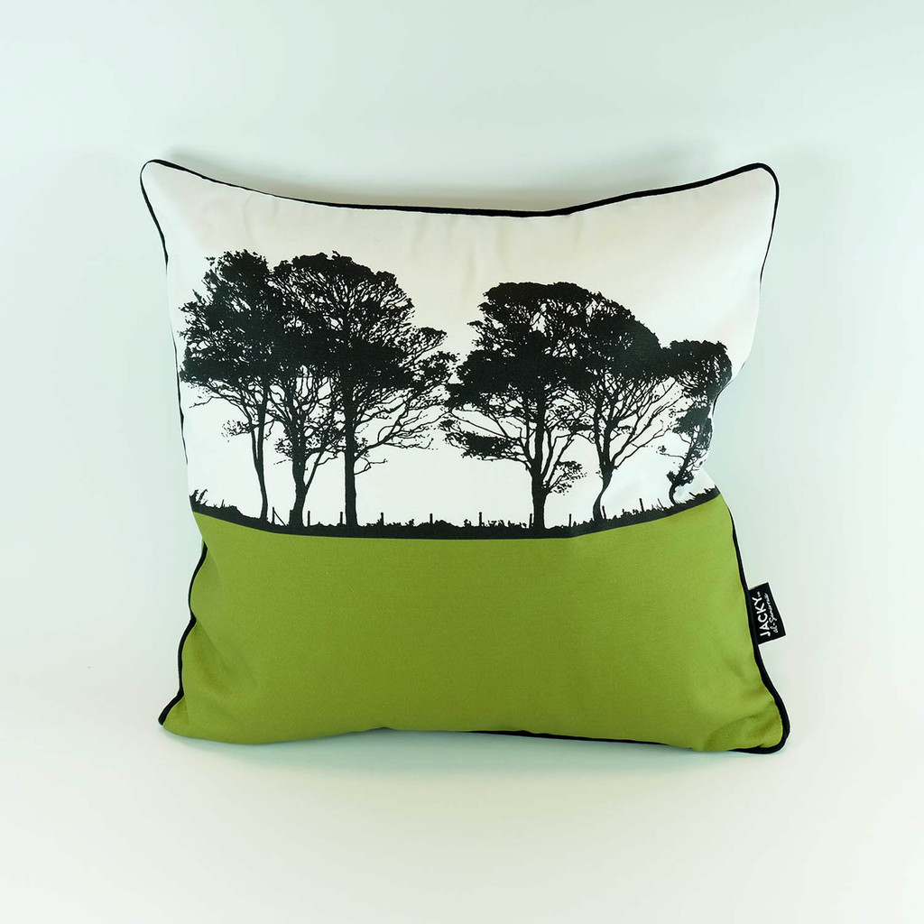 Square cotton cushion by Jacky Al-Samarraie. Landscape design in green.