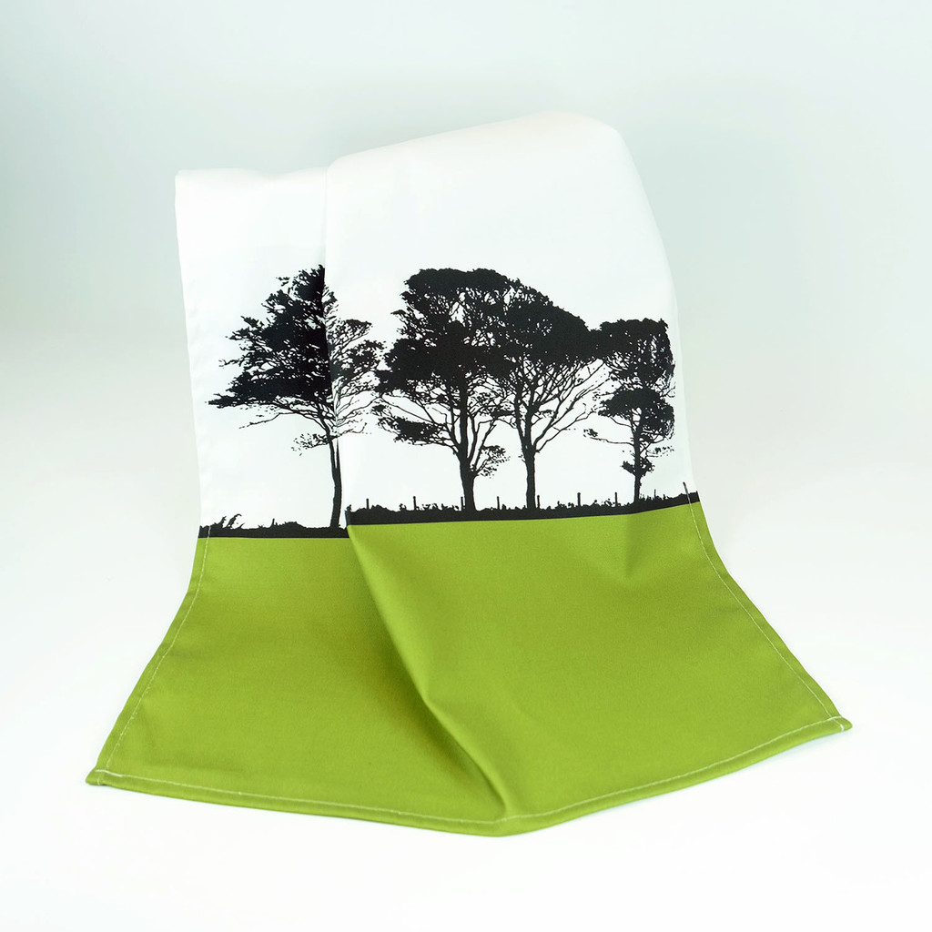 Green Cotton Tea Towel with tree design by Jacky Al-Samarraie