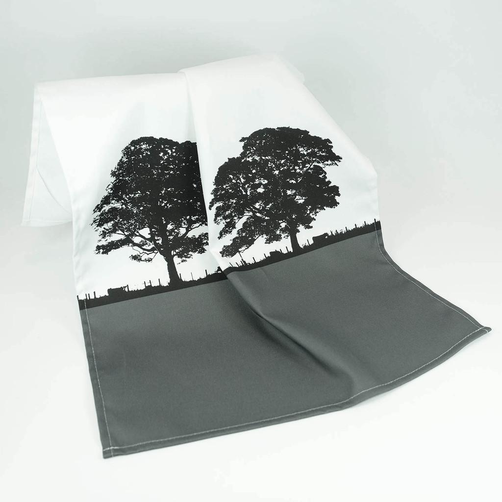 Grey cotton landscape tea towel by Jacky Al-Samarraie