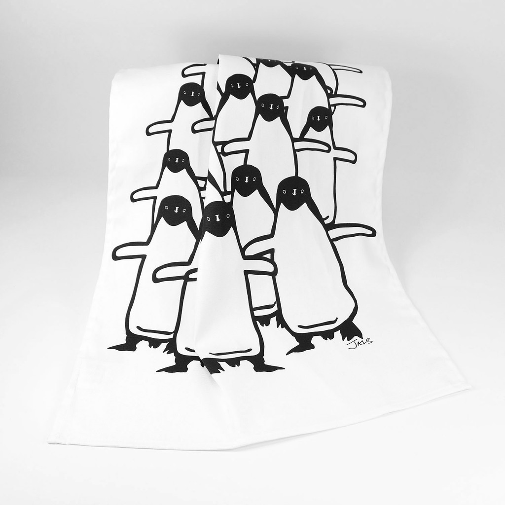 Penguin design tea towel by Jacky Al-Samarraie