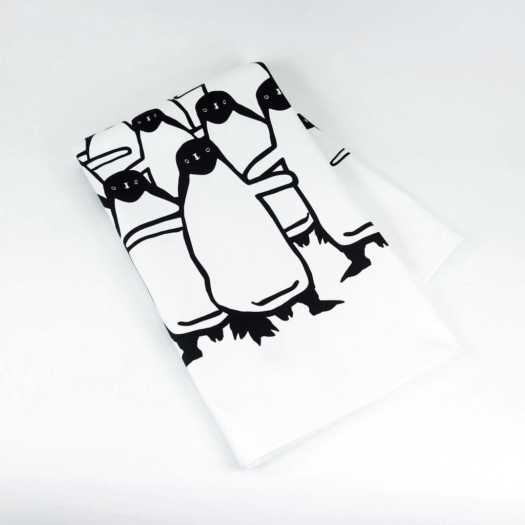 Luxury Cotton Penguin design Tea Towel by Jacky Al-Samarraie