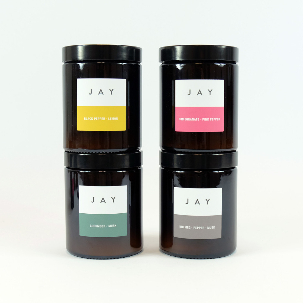 Pharmacy Jar Candles in four fragrances by Jacky Al-Samarraie