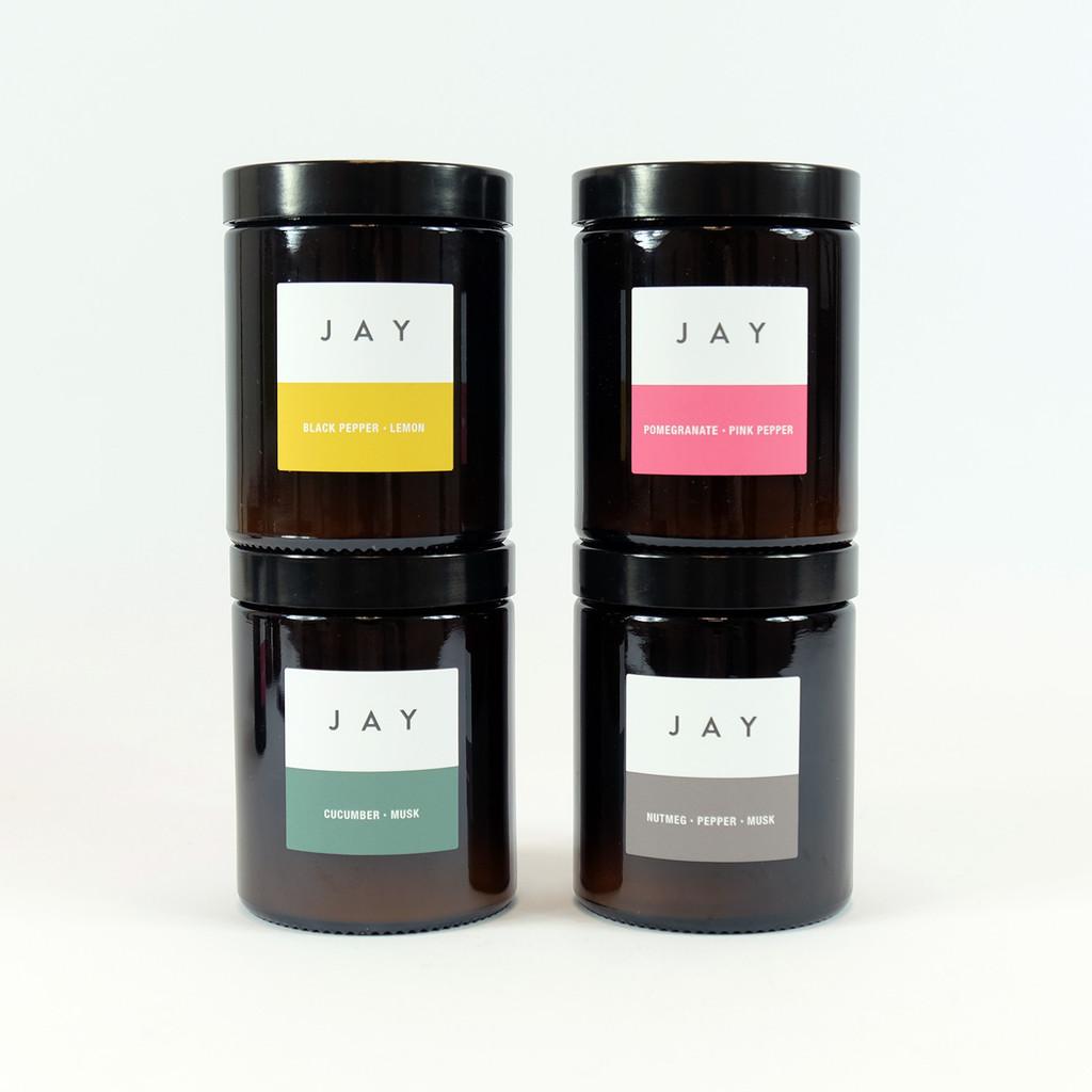 Pharmacy Jar Candles in four fragrances by Jacky Al-Samarraie