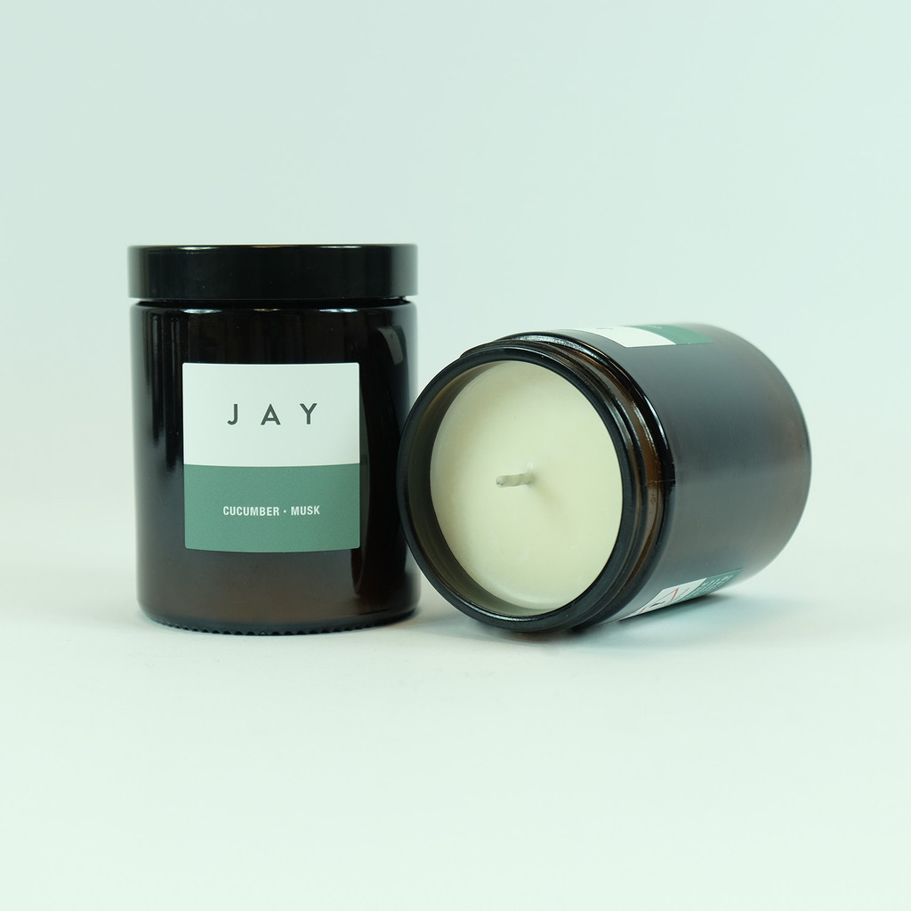 Cucumber & Musk candle jar. Vegan candle by Jacky Al-Samarraie